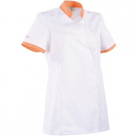 Camice Clemix sciancrato 2LIN bianco e arancione