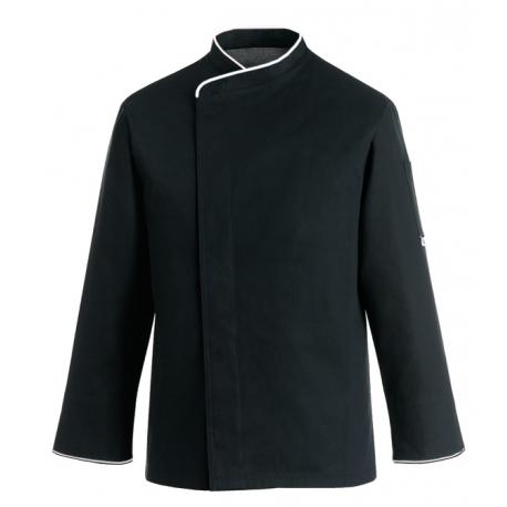 Giacca da cucina nera con bordino bianco per taglie forti - ML o MC