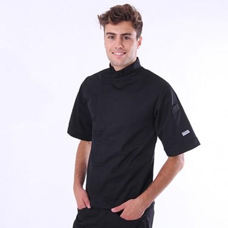 Giacca da cucina nera a maniche corte