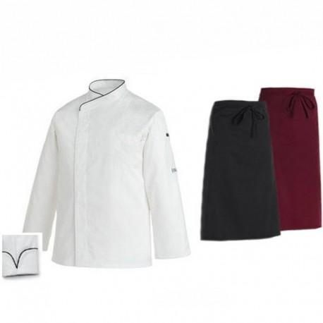 Pacchetto per cuoco con bordino nero a maniche lunghe