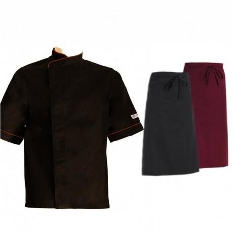 Pacchetto per cuoco con bordino bordeaux a maniche corte