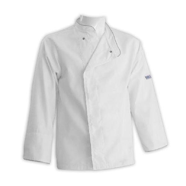 Giacca da cuoco grandi taglie bianca con bordi grigi