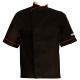 Giacca da cuoco nera con bordi rossi per grandi taglie