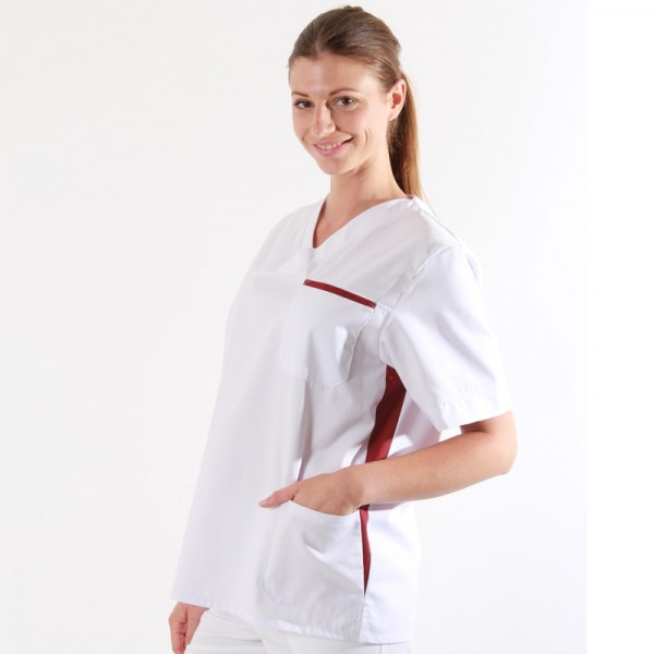 Casacca medica donna bianca e prugna