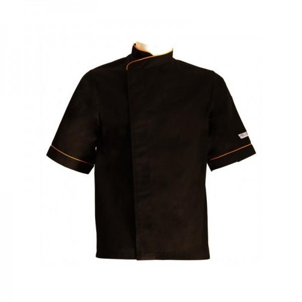 Giacca da cuoco nera grandi taglie con bordi arancio