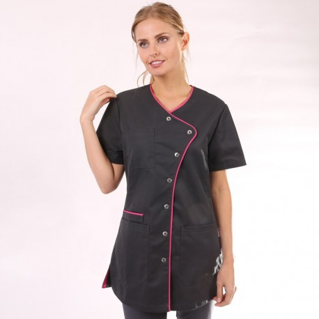 Camice medico nero con orlo lungo - Clinic Dress