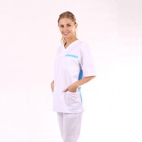 Casacca medica donna bianca e blu