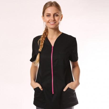 Camice medico nero con zip rosa