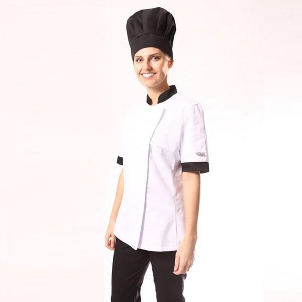 Giacca da cucina con colletto e risvolto delle maniche nero