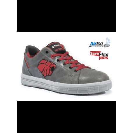Scarpe antinfortunistiche S3 grigie e rosse in cuoio