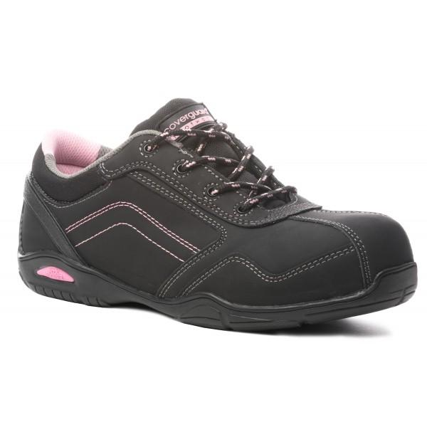 Scarpe antinfortunistiche da donna nere e rosa S3