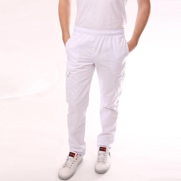 Pantaloni da cucina bianchi con tasche laterali