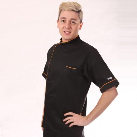 Giacca da cuoco nera con bordo lungo arancio