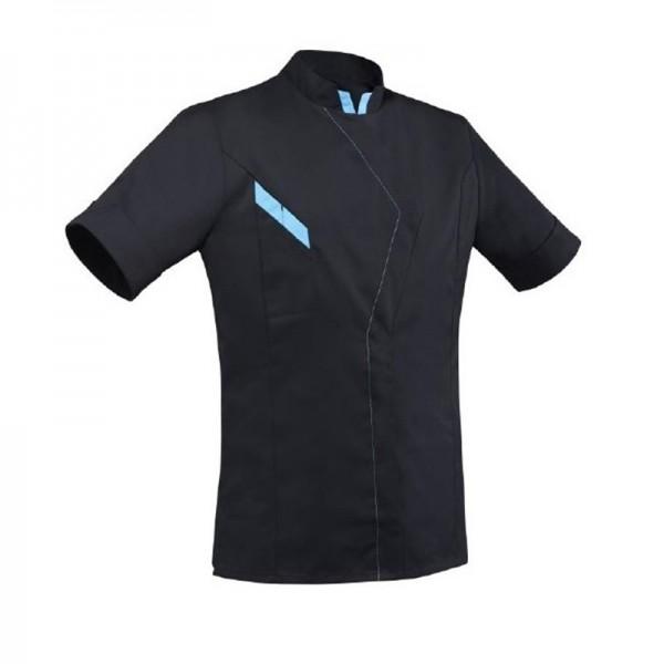 Giacca da chef unisex nera e blu