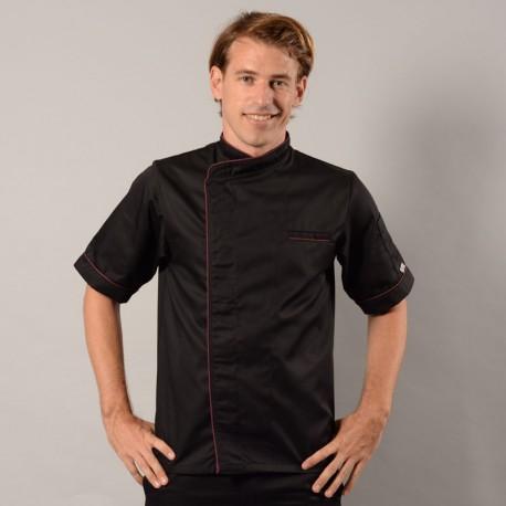 Giacca da cucina nera con bordino lungo bordeaux