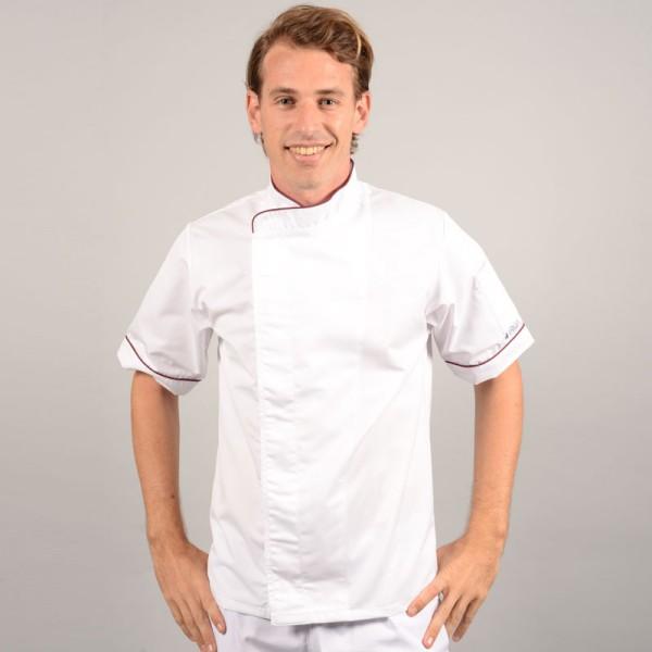 Giacca da cucina bianca con bordino bordeaux