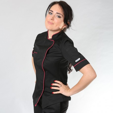 Giacca da cuoco da donna bordata fucsia Elisa - MC