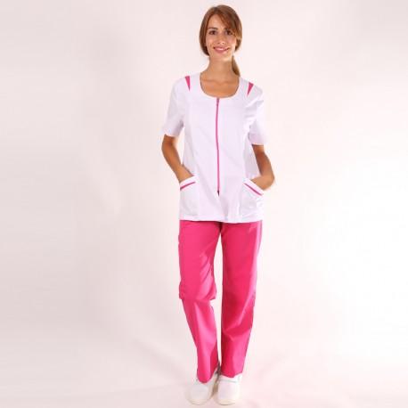Casacca medicale donna Giovanna bianca e rosa