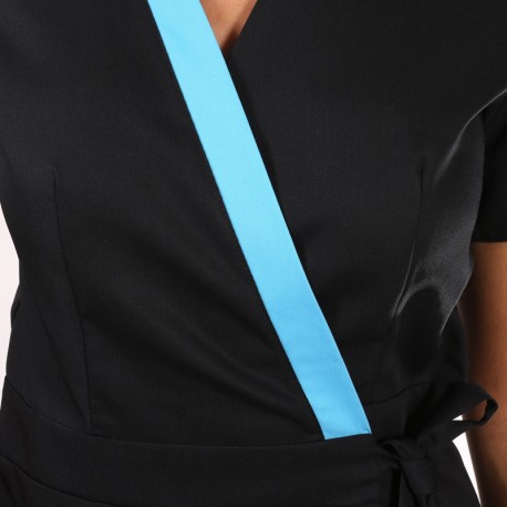 Kimono estetista Ines nero con inserti blu