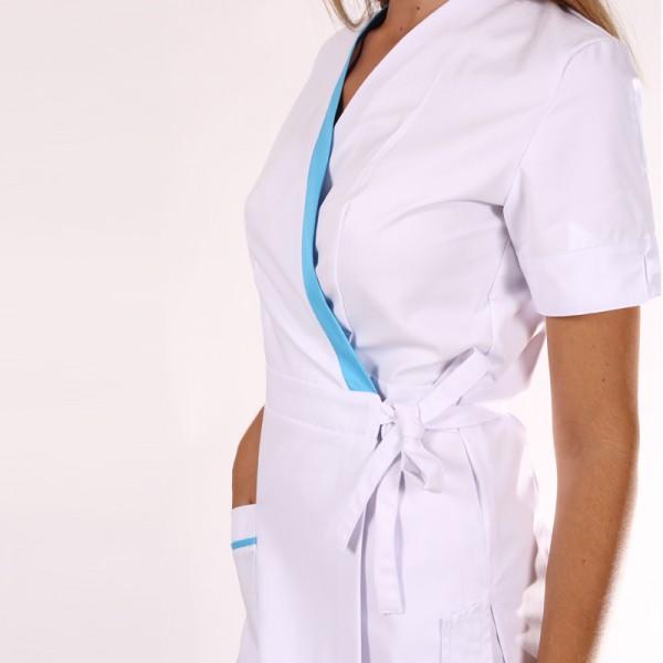 Kimono estetista Ines bianco con inserti blu