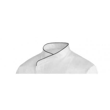 Giacca da cuoco bianca taglia grande con bordo nero - ML