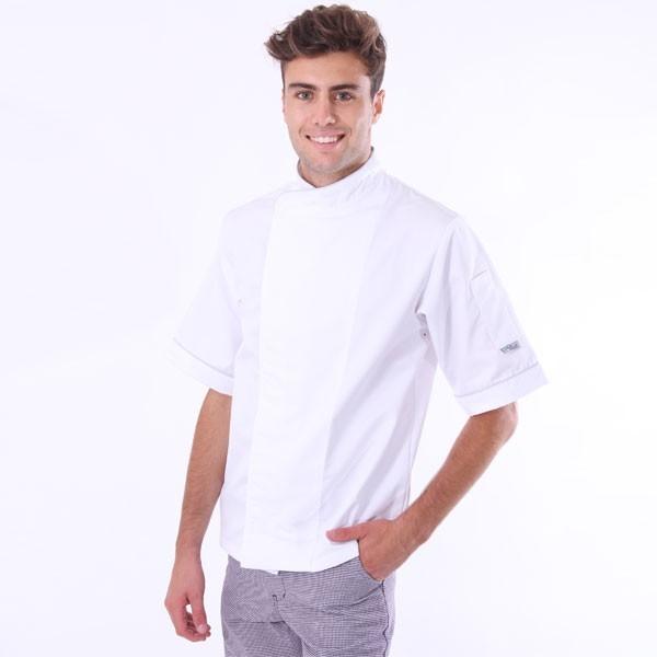 Giacca da cucina bianca traspirante - bordino nero o grigio