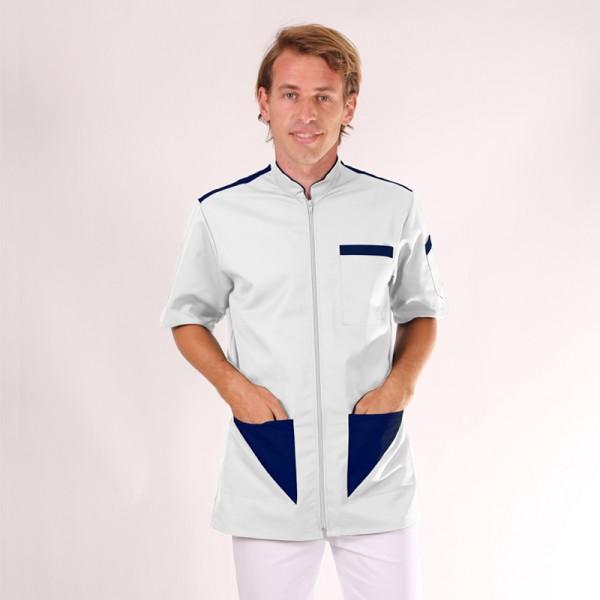 Camice medico da uomo bianco e blu marino Sacha