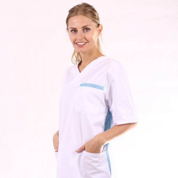 Blusa per personale sanitario mista bianca e azzurra